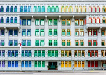 シンガポールの古いヒル ・ ストリート警察署歴史的な建物。ネオクラシック スタイルのカラフルな windows 建物します。 写真素材