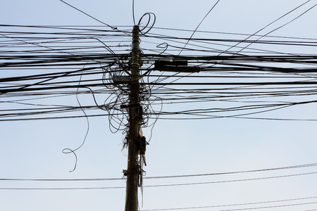 power cables: Power cables and pole in Kathmandu, Nepal Stock Photo