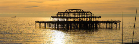 brighton: The West Pier at sunset in Brighton, UK Stock Photo