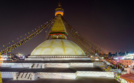 bodnath: Boudhanath stupa at night in Kathmandu, Nepal Stock Photo