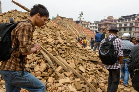 quake: KATHMANDU, NEPAL - APRIL 26, 2015: Durbar Square,  is severly damaged after the magnitude 7.8 earthquake on 25 April 2015.
