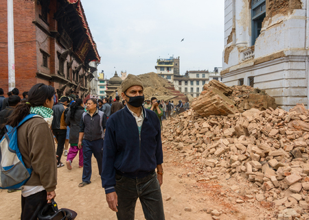 richter: KATHMANDU, NEPAL - APRIL 26, 2015: Durbar Square,  is severly damaged after the magnitude 7.8 earthquake on 25 April 2015.