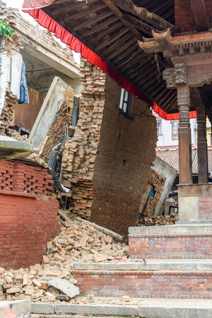 magnitude: KATHMANDU, NEPAL - APRIL 26, 2015: Durbar Square,  is severly damaged after the magnitude 7.8 earthquake on 25 April 2015.