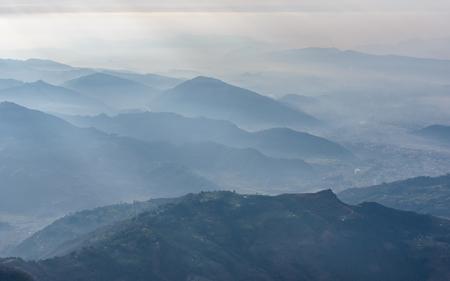 recedes: Pokhara region aerial view, Nepal