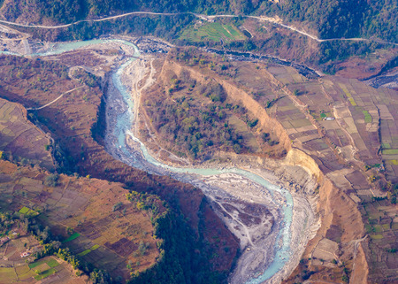 river view: River aerial view in the Pokhara region, Nepal