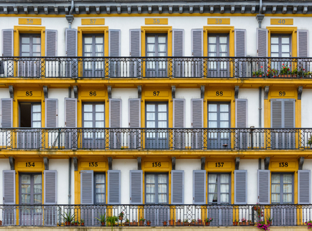 san sebastian: Building facade on Plaza de la Constitucion in San Sebastian, Spain Stock Photo