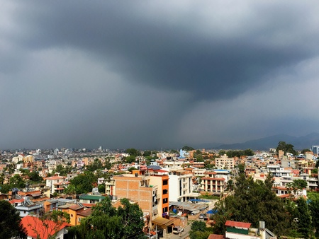 Stormy weather over Patan and Kathmandu in Nepal