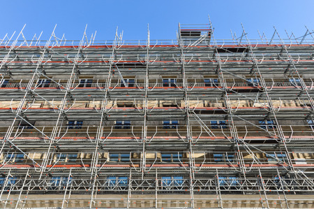 scaffolds: Scaffolding in Paris, renovation of an ancient building