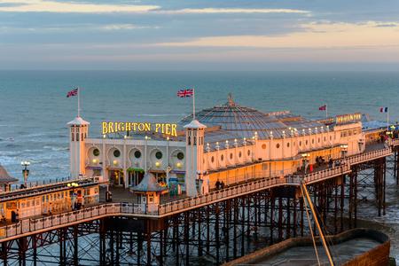 brighton beach: BRIGHTON, UK - CIRCA APRIL 2013: The Brighton Pier at sunset. Editorial