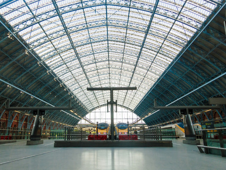 LONDON, UK - CIRCA OCTOBER 2013: Eurostar trains at St Pancras International station