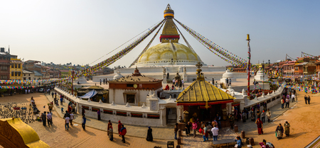 stupa one: KATHMANDU, NEPAL - CIRCA MARCH 2013: Panoramic view of Boudhanath stupa. It is one of the largest stupa in the world.