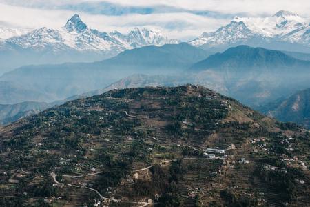 fishtail: Sarangkot hill and the Machapuchare aerial view, Nepal