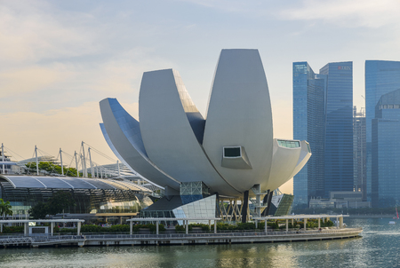 SINGAPORE - JANUARY 16, 2016: The ArtScience Museum at Marina Bay Sands is located along the Marina Bay waterfront and was opened in February 2011. Editorial