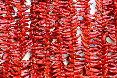 pimientos: Las cadenas de DOP Espelette guindillas secado, Francia