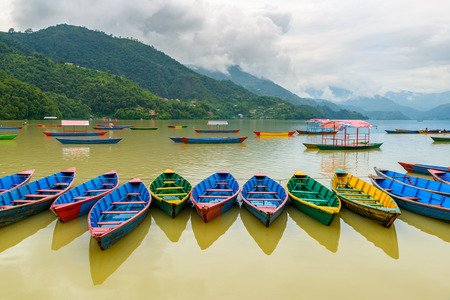 phewa: Colorful small boats on Phewa Lake in Pokhara, Nepal