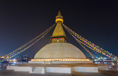 bodnath: Boudhanath stupa at night in Kathmandu, Nepal Editorial
