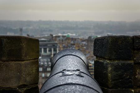 crenelation: Cannon at Edinburgh castle, Scotland Editorial