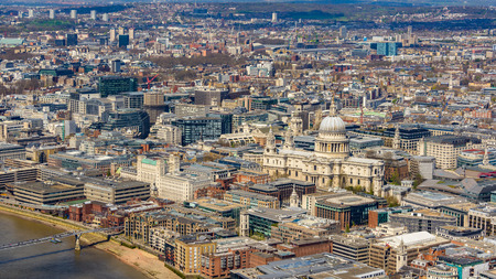 st pauls: London and St Pauls Cathedral aerial view, in England, UK