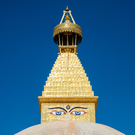 rebuilt: Boudhanath stupa in Kathmandu, Nepal. The top has been rebuilt since 2015 Nepal earthquake.
