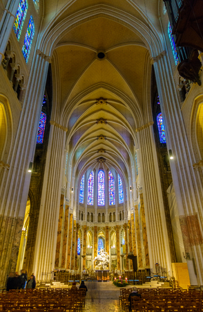 CHARTRES, FRANCE - CIRCA DECEMBER 2016: Interior view of Chartres Cathedral also known as the Cathedral of Our Lady of Chartres. Editorial