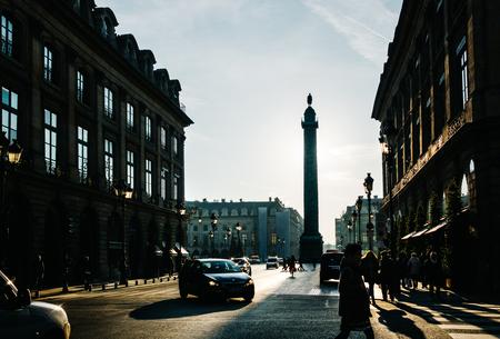 austerlitz: PARIS, FRANCE - CIRCA DECEMBER 2016: View on Place Vendôme and its backlit column from rue de la Paix. Editorial