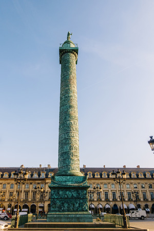 PARIS, FRANCE - CIRCA DECEMBER 2016: View on Place Vendôme and its column on top of which is a Napoleon statue. Editorial