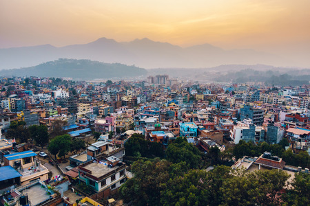 residential area: Patan at sunset  in the Kathmandu valley, Nepal