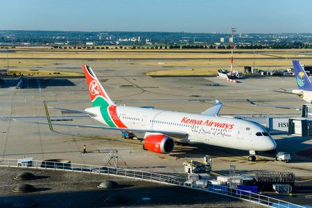 CIRCA AUGUST 2015 - ROISSY-EN-FRANCE: A Kenya Airways Boeing 787-8 at Paris Charles de Gaulle Airport.