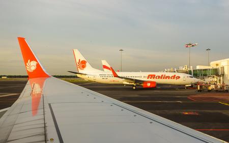 KUALA LUMPUR, MALAYSIA - CIRCA JANUARY 2016: A Malindo Air Boeing 737 at Kuala Lumpur International Airport.