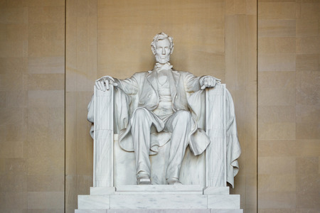 Abraham Lincoln statue at the Lincoln Memorial in Washington D.C., USA
