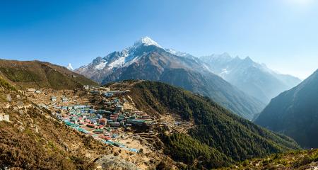 sherpa: Panoramic view of Namche Bazaar and Thamserku mountain in Solukhumbu district, Nepal