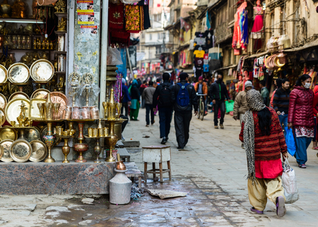 KATHMANDU, NEPAL - CIRCA JANUARY 2017: Street scene in the Asan neighbourhood. Editorial