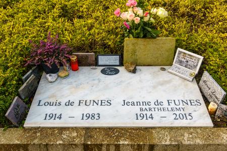 LE CELLIER, FRANCE - CIRCA JANUARY 2018: Louis de Funès grave. Louis de Funès was a famous French actor.