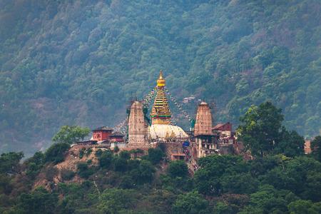 Swayambhunath stupa also called Monkey Temple in Kathmandu, Nepal Stock Photo
