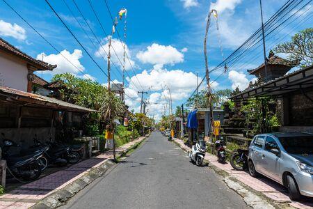 Small empty street in Ubud, Bali, Indonesia Stock Photo
