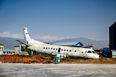 Scrapped airplane at Tribhuvan International Airport in Kathmandu, Nepal