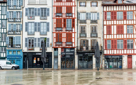 BAYONNE, FRANCE - MARCH 16, 2019: Cafes and shops are all closed in Carreau des Halles Square because of the outbreak of Coronavirus and the subsequent lockdown. Editorial