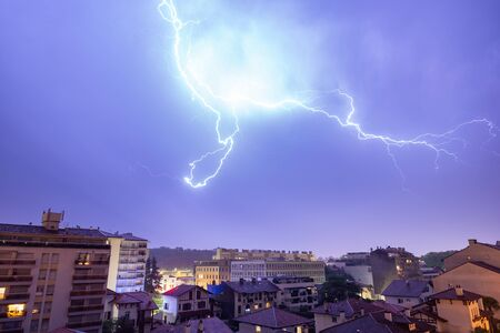 Thunderstorm at night in Bayonne, France