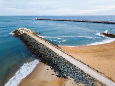 La Barre aerial view in Anglet, France. Beach, dikes and the Atlantic ocean.