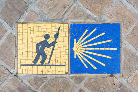 Camino de Santiago pilgrimage sign on the pavement in Chartres, France. Reklamní fotografie