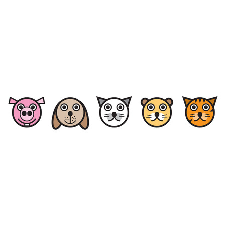 animal faces - pig, dog, cat, lion, tiger