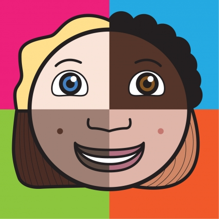 Multicultural face with coloured background Illustration