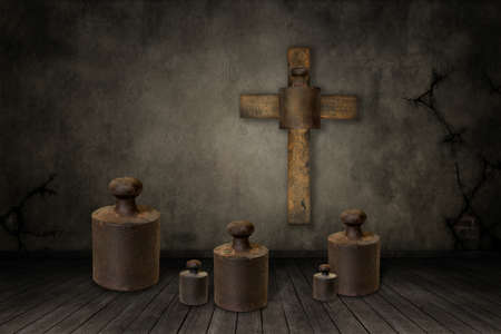 bible story: Illustration of weights under the cross