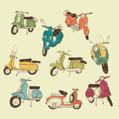 60s: Set of vector retro scooters Illustration