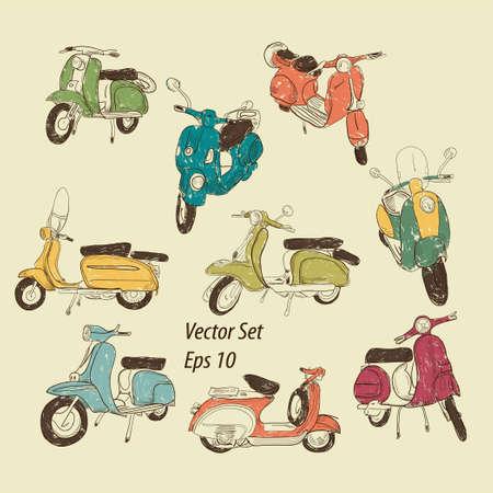vespa: Conjunto de retro scooters Vectores