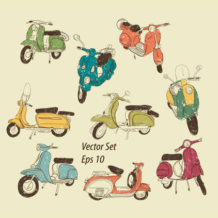 motor scooter: Set of retro scooters Illustration