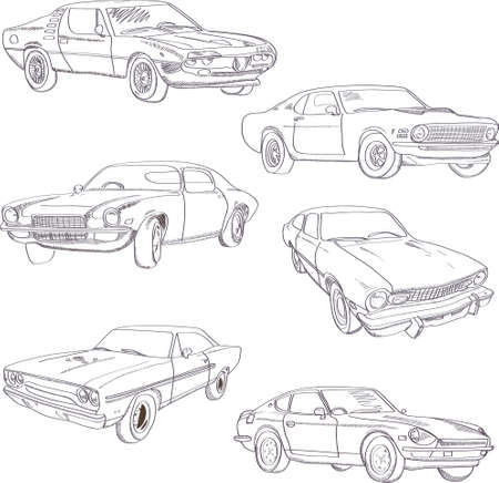 Set of retro hand-drawn cars of forties, vector sketch