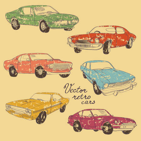 Set of retro colorful hand-drawn cars of forties