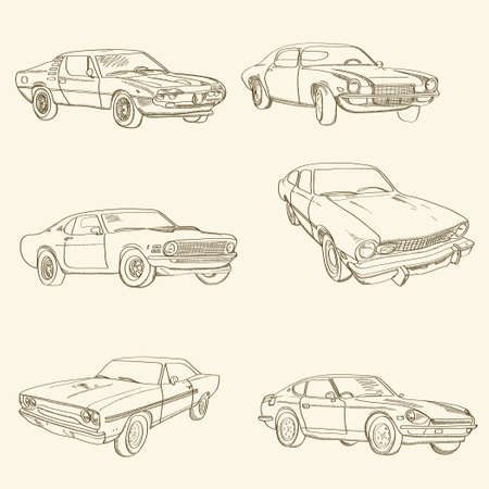 Set of retro hand-drawn cars. Sketch style