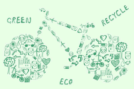 viewfinderchallenge3: Concept of eco green way of life bike made of hand drawn eco icons Illustration